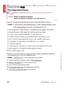 Independent and subordinate clauses worksheet pdf